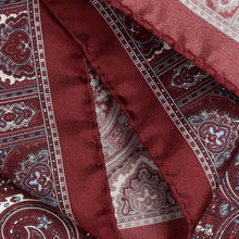 Load image into Gallery viewer, Burgundy and White Silk Paisley Hankie