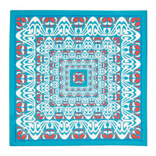 Load image into Gallery viewer, Teal and Red Abstract Silk Hankie