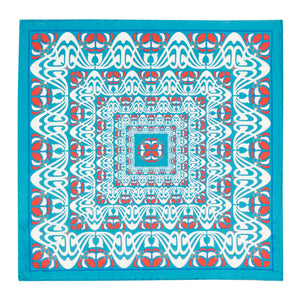 Teal and Red Abstract Silk Hankie