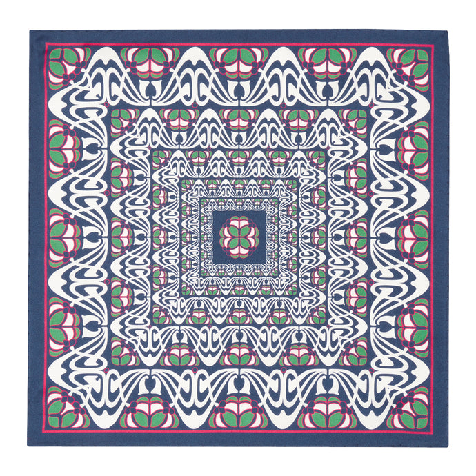 Navy, Pink and Green Abstract Silk Hankie