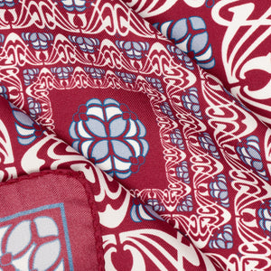 Burgundy and Grey Abstract Silk Hankie