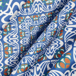 Blue, Ochre and Green Abstract Silk Hankie