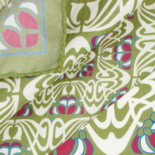 Load image into Gallery viewer, Olive and Pink Abstract Silk Hankie