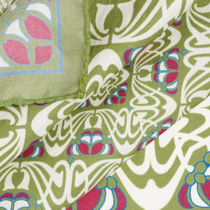 Olive and Pink Abstract Silk Hankie
