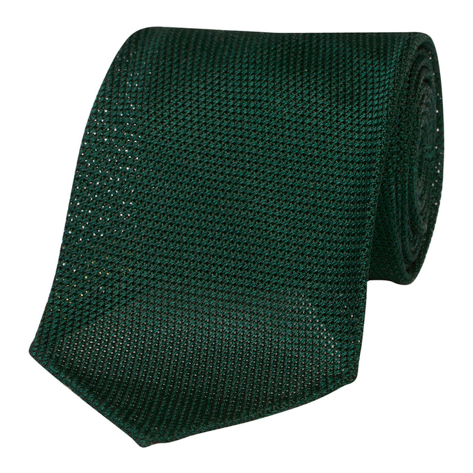 Forest Green Silk Grenadine Seven Fold Tie
