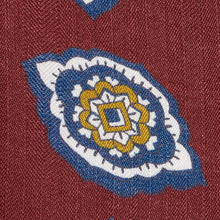 Load image into Gallery viewer, Claret Petal Paisley Silk and Linen Tie