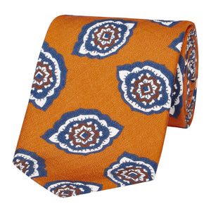 Orange Petal Paisley Silk and Linen Tie