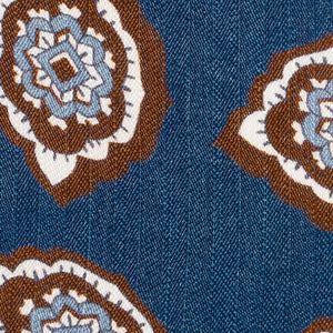 Blue Petal Paisley Silk and Linen Tie