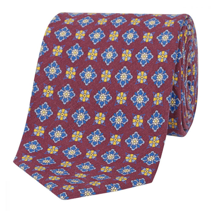 Claret Floral Silk and Linen Tie