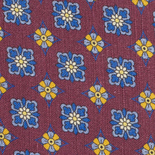Load image into Gallery viewer, Claret Floral Silk and Linen Tie