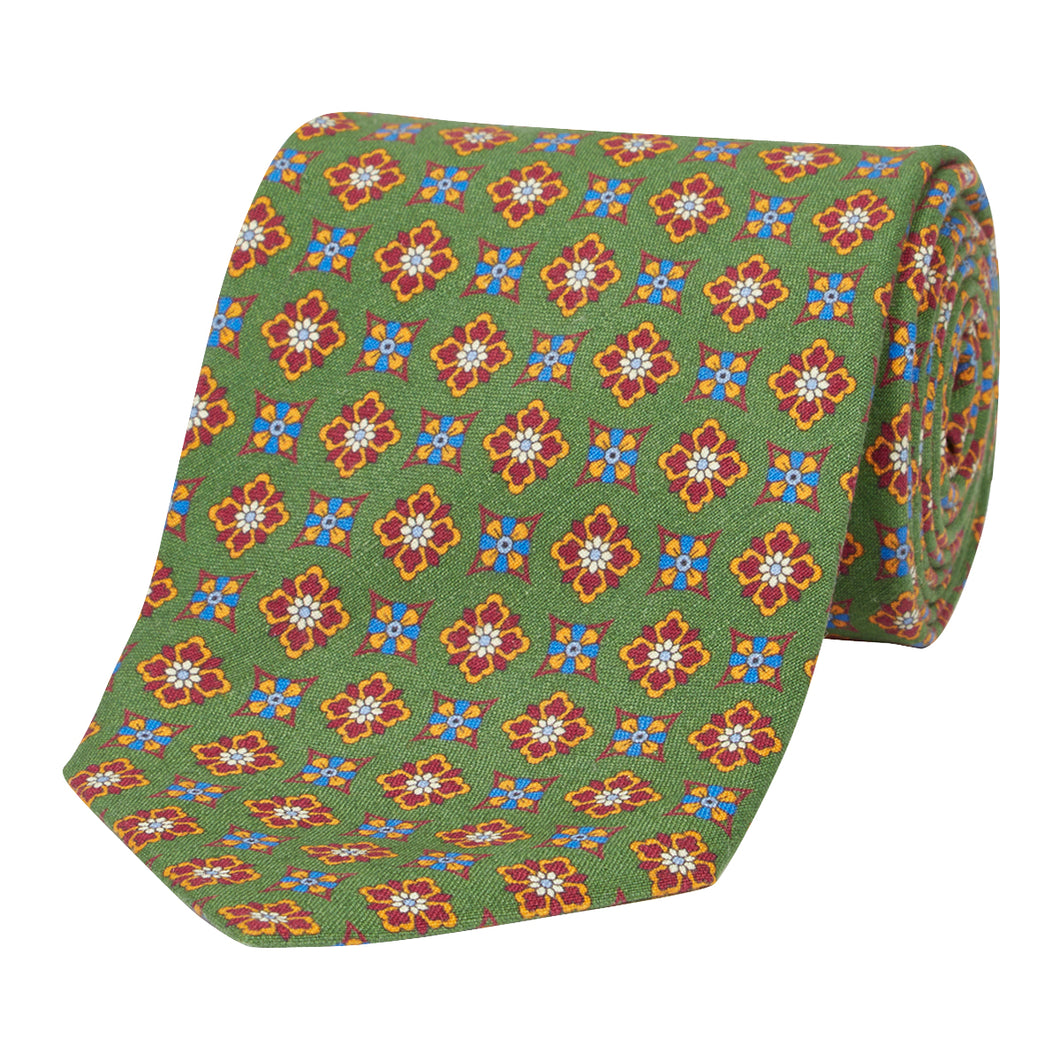 Leaf Green Floral Silk and Linen Tie