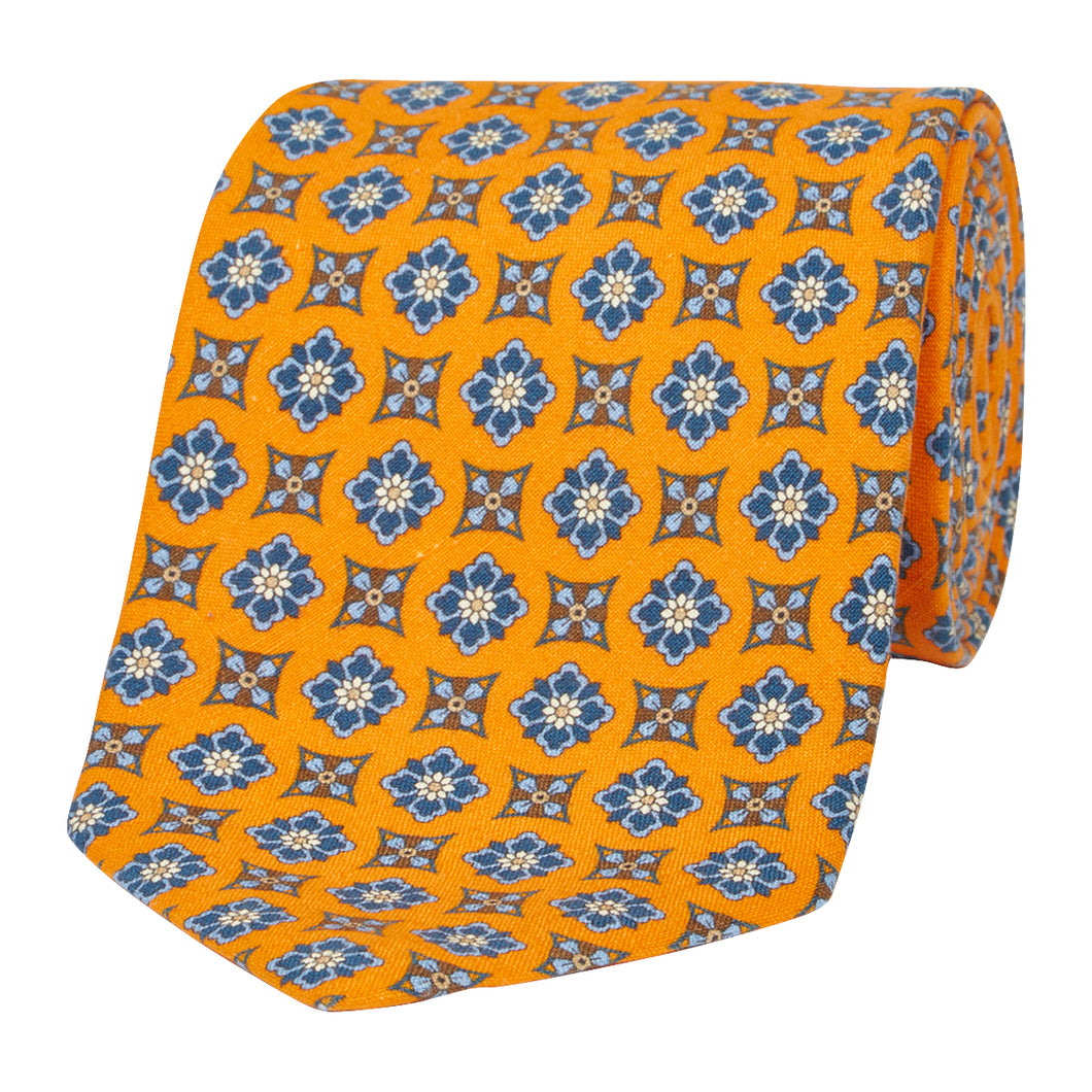Orange Floral Silk and Linen Tie