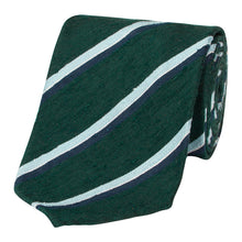 Load image into Gallery viewer, Forest Green and Blue Shantung Silk Stripe Tie