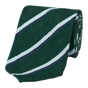 Forest Green and Blue Shantung Silk Stripe Tie