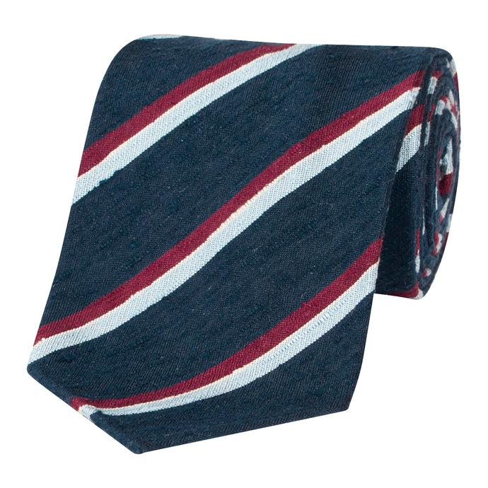 Blue and Claret Shantung Silk Stripe Tie