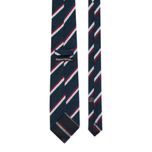 Load image into Gallery viewer, Blue and Claret Shantung Silk Stripe Tie