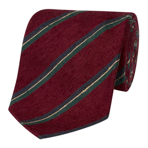 Claret, Green and Navy Shantung Silk Stripe Tie