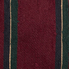 Load image into Gallery viewer, Claret, Green and Navy Shantung Silk Stripe Tie