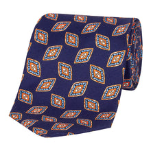 Load image into Gallery viewer, Navy Geometric Silk Tie