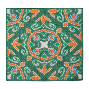 Green and Orange Floral Hankie