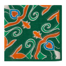 Load image into Gallery viewer, Green and Orange Floral Hankie
