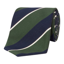 Load image into Gallery viewer, Green and Navy Stripe Tie