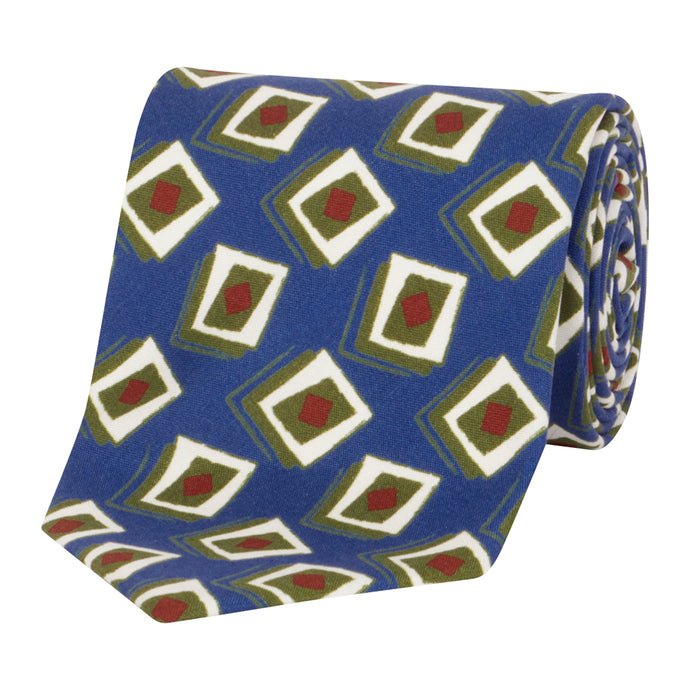 Blue and Olive Geometric Tie