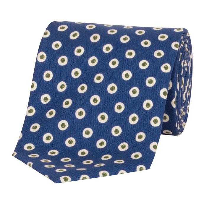 Blue with Olive Spot Tie