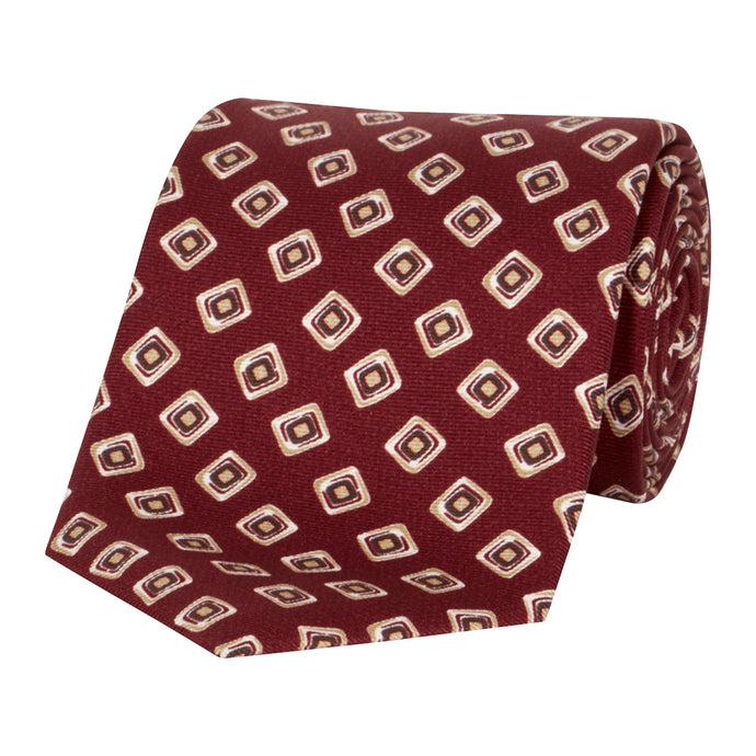 Red Small Square Geometric Tie
