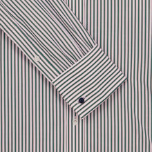 Load image into Gallery viewer, Green Bengal with Pink Shadow Stripe Pin Collar Shirt