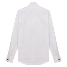 Load image into Gallery viewer, White with Blue and Grey Striped Pin Collar Shirt