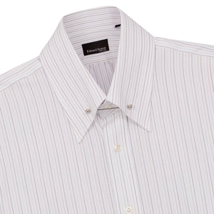 White with Blue and Grey Striped Pin Collar Shirt