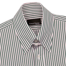 Load image into Gallery viewer, Green Bengal with Pink Shadow Stripe Tab Collar Shirt