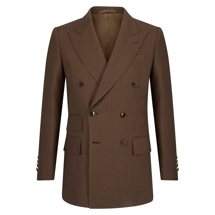Chocolate Linen Double Breasted Jacket