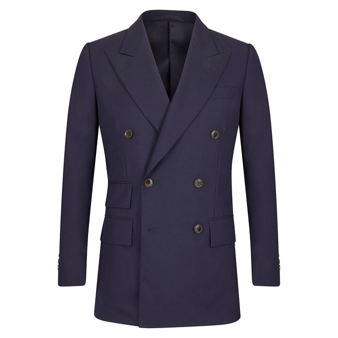 Navy high twist Double Breasted Jacket