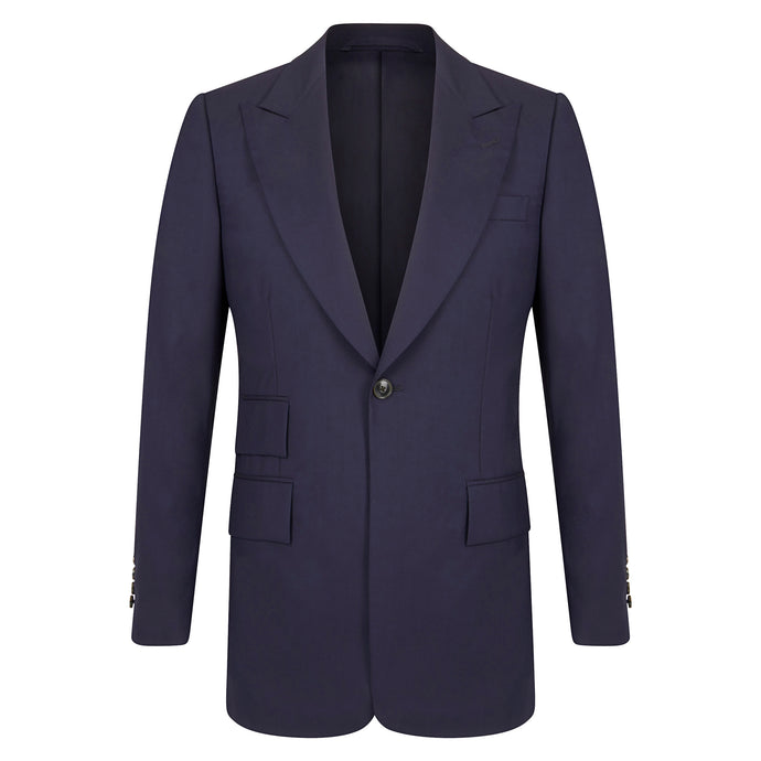 Navy High Twist Single Breasted Jacket