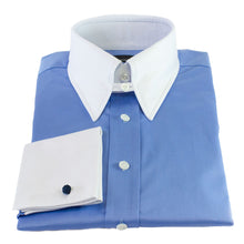 Load image into Gallery viewer, Blue tab collar shirt with White collar and cuffs