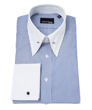 Load image into Gallery viewer, blue-bengal-stripe-pin-collar-contrast-shirt