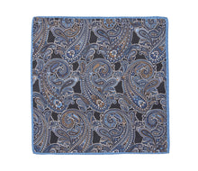 Load image into Gallery viewer, blue_black_paisley_pocket_square
