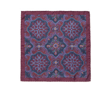 Load image into Gallery viewer, burgundy_navy_ochre_pocket_square
