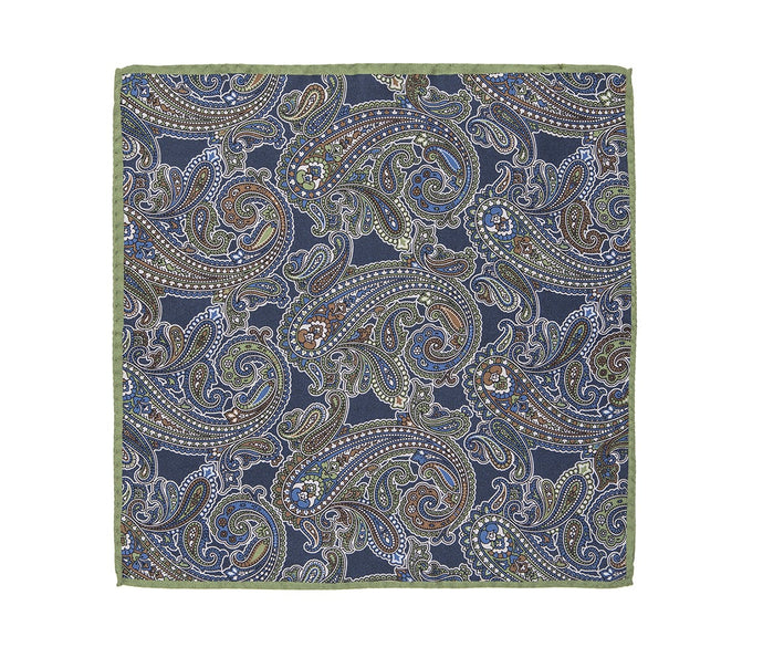 burnt_orange_navy_green_paisley_pocket_square