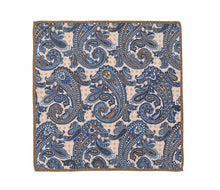 Load image into Gallery viewer, cream_tan_blue_paisley_pocket_square