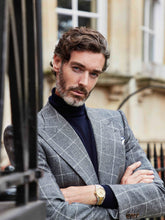 Load image into Gallery viewer, navy_cashmere_rollneck_grey_flannel suit