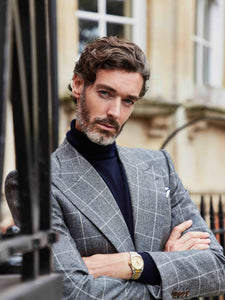 navy_cashmere_rollneck_grey_flannel suit