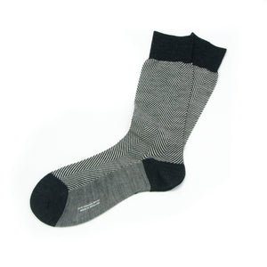 black and white hounds tooth fine gage socks