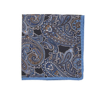 Load image into Gallery viewer, turquoise_black_paisley_pocket_handkerchief