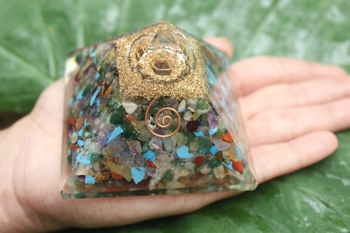 ORGONE/ ORONITE 7 chikra Gemstones Pyramid 3 inches