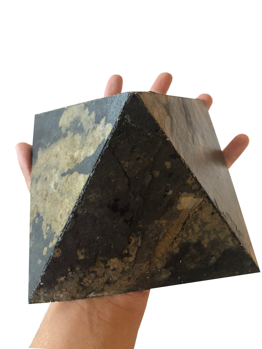 Pair of 2 Natural Automin Multi lite Stone Veneer Pyramid for positive vibes