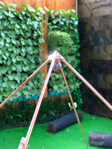 NEW portable Copper Giza 5 feet base Meditation Pyramid ( portable ) with Shree Vishnu conch and Raw crystal