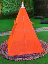 Load image into Gallery viewer, New Third Eye Copper Meditation Nubian Pyramid 36 Inch base with saffron Tent, shink and 8 raw Crystals